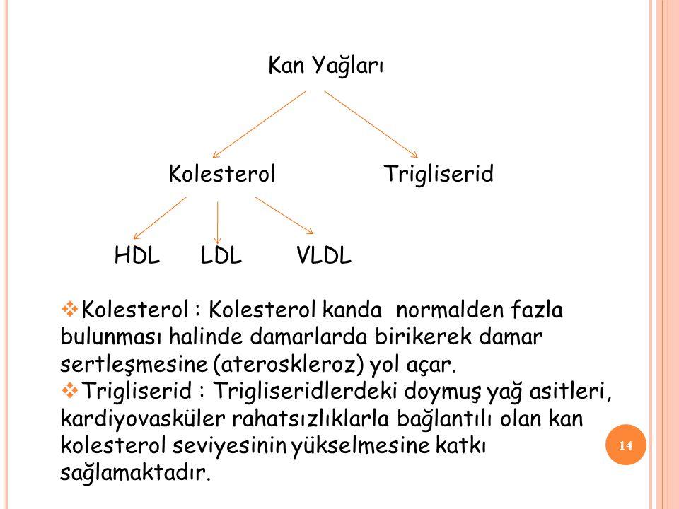 14 Kan Yağları Kolesterol Trigliserid HDL LDL VLDL  Kolesterol : Kolesterol kanda normalden fazla bulunması halinde damarlarda birikerek damar sertle