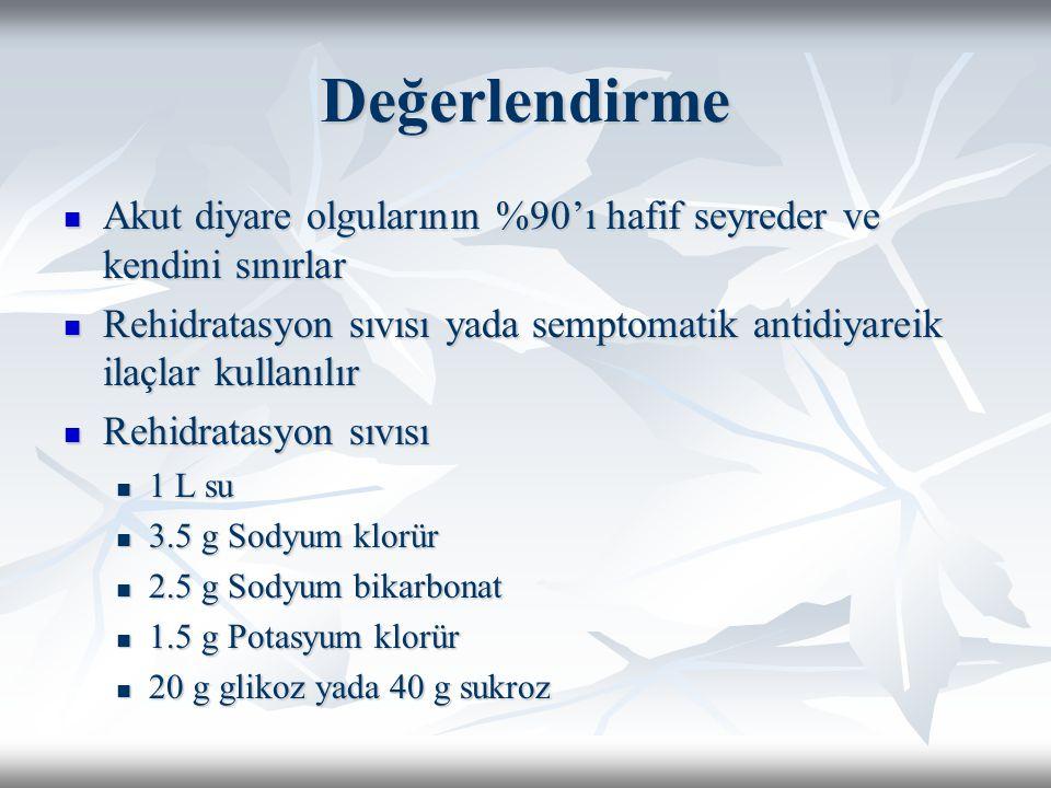Değerlendirme Akut diyare olgularının %90'ı hafif seyreder ve kendini sınırlar Akut diyare olgularının %90'ı hafif seyreder ve kendini sınırlar Rehidr