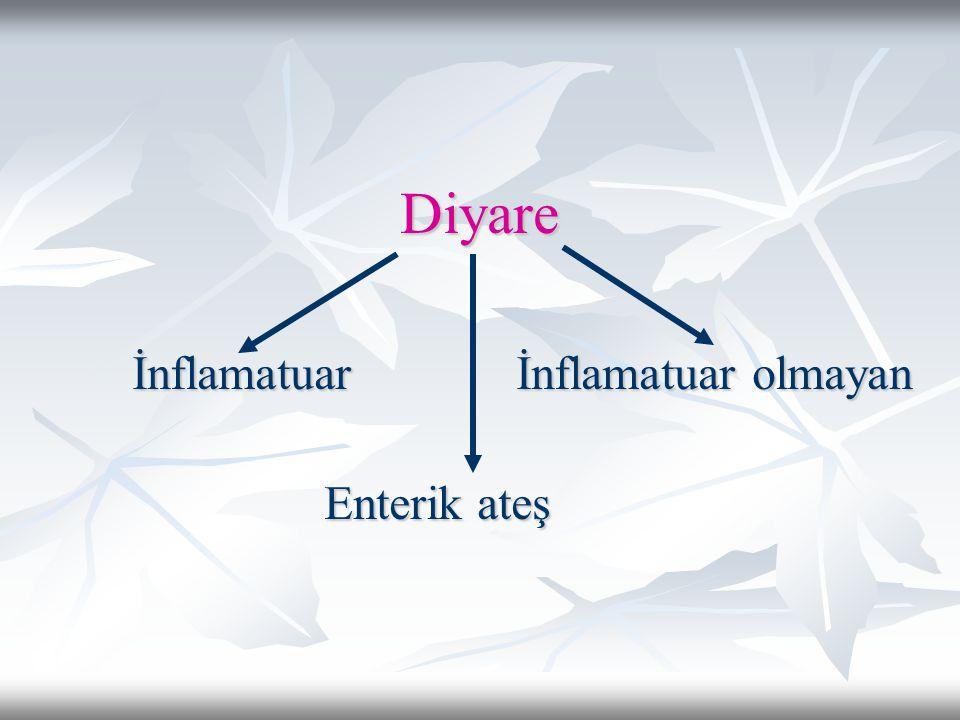 İnflamatuar olmayan diyare Sulu kansız ishal + peirumblikal kramplar, şişkinlik, bulantı ve kusma vardır.