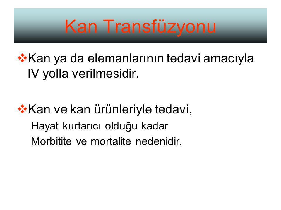 Kan Transfüzyonu  Kan ya da elemanlarının tedavi amacıyla IV yolla verilmesidir.
