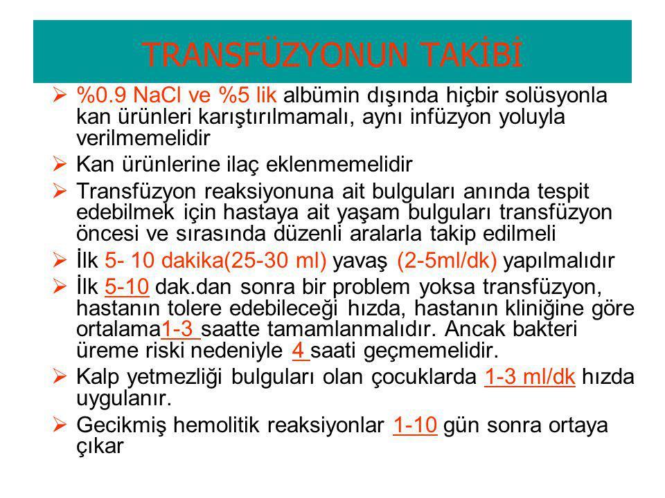 Kan transfüzyonu işlemi IV infüzyon malzemelerine ilaveten kan seti ve % 0,9 NaCl Uygulamadan önce yapılması gereken kontroller; –Kan verilecek hastan