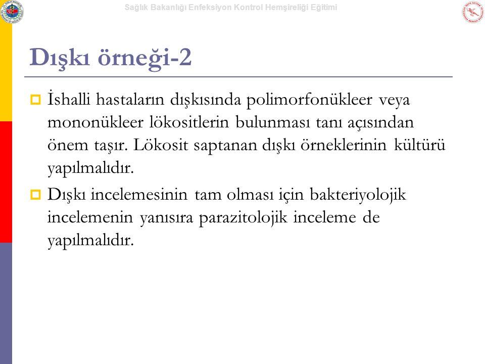 Sağlık Bakanlığı Enfeksiyon Kontrol Hemşireliği Eğitimi Dışkı örneği-2  İshalli hastaların dışkısında polimorfonükleer veya mononükleer lökositlerin