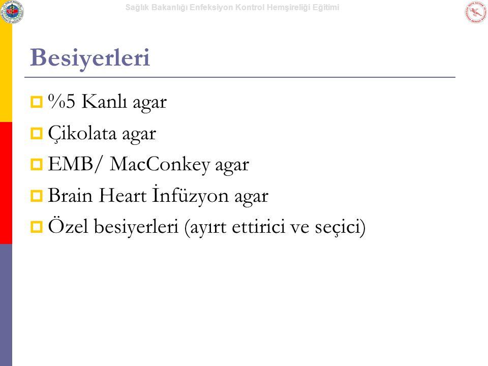 Sağlık Bakanlığı Enfeksiyon Kontrol Hemşireliği Eğitimi Besiyerleri  %5 Kanlı agar  Çikolata agar  EMB/ MacConkey agar  Brain Heart İnfüzyon agar