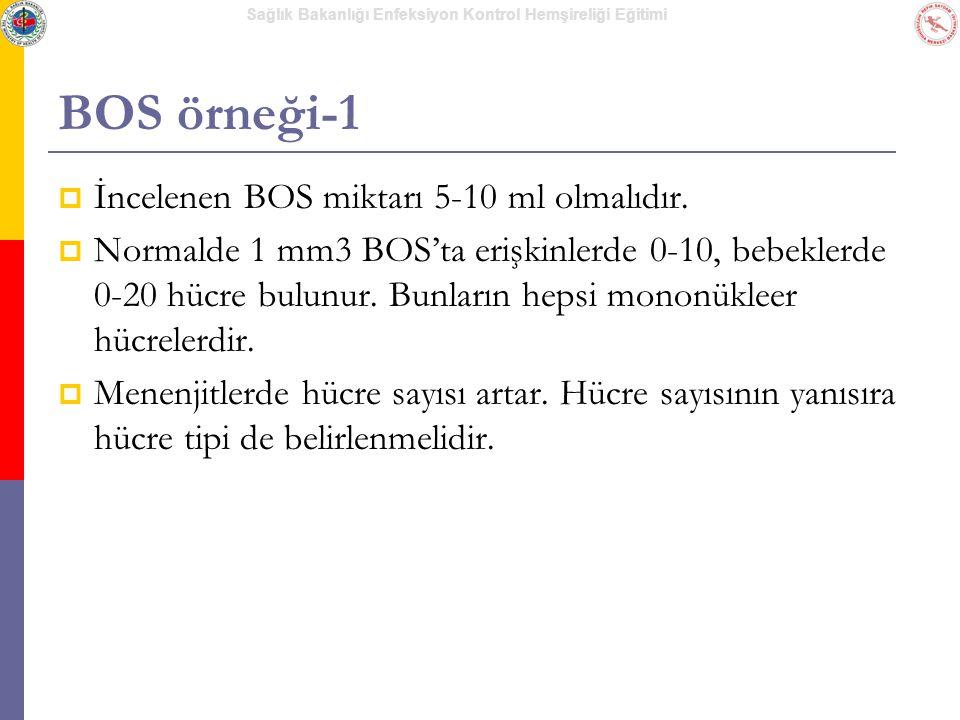 Sağlık Bakanlığı Enfeksiyon Kontrol Hemşireliği Eğitimi BOS örneği-1  İncelenen BOS miktarı 5-10 ml olmalıdır.  Normalde 1 mm3 BOS'ta erişkinlerde 0