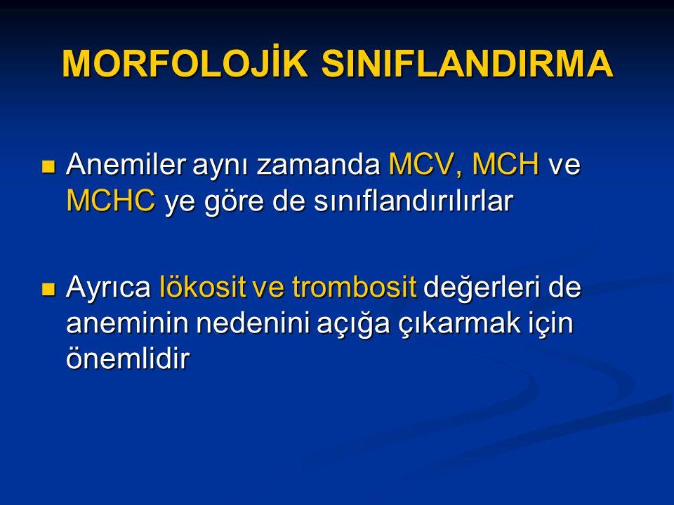 MORFOLOJİK SINIFLANDIRMA Anemiler aynı zamanda MCV, MCH ve MCHC ye göre de sınıflandırılırlar Anemiler aynı zamanda MCV, MCH ve MCHC ye göre de sınıflandırılırlar Ayrıca lökosit ve trombosit değerleri de aneminin nedenini açığa çıkarmak için önemlidir Ayrıca lökosit ve trombosit değerleri de aneminin nedenini açığa çıkarmak için önemlidir