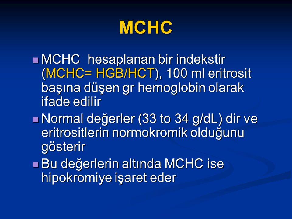 MCHC MCHC hesaplanan bir indekstir (MCHC= HGB/HCT), 100 ml eritrosit başına düşen gr hemoglobin olarak ifade edilir MCHC hesaplanan bir indekstir (MCHC= HGB/HCT), 100 ml eritrosit başına düşen gr hemoglobin olarak ifade edilir Normal değerler (33 to 34 g/dL) dir ve eritrositlerin normokromik olduğunu gösterir Normal değerler (33 to 34 g/dL) dir ve eritrositlerin normokromik olduğunu gösterir Bu değerlerin altında MCHC ise hipokromiye işaret eder Bu değerlerin altında MCHC ise hipokromiye işaret eder