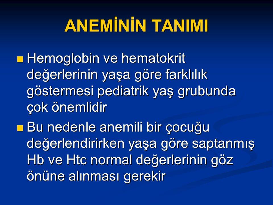 ANEMİNİN TANIMI Hemoglobin ve hematokrit değerlerinin yaşa göre farklılık göstermesi pediatrik yaş grubunda çok önemlidir Hemoglobin ve hematokrit değerlerinin yaşa göre farklılık göstermesi pediatrik yaş grubunda çok önemlidir Bu nedenle anemili bir çocuğu değerlendirirken yaşa göre saptanmış Hb ve Htc normal değerlerinin göz önüne alınması gerekir Bu nedenle anemili bir çocuğu değerlendirirken yaşa göre saptanmış Hb ve Htc normal değerlerinin göz önüne alınması gerekir