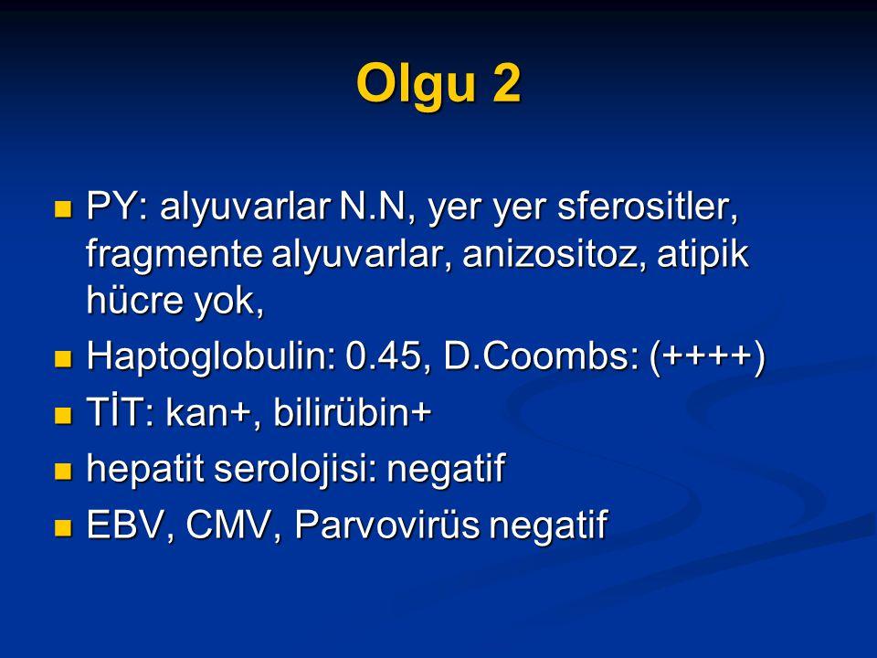 Olgu 2 PY: alyuvarlar N.N, yer yer sferositler, fragmente alyuvarlar, anizositoz, atipik hücre yok, PY: alyuvarlar N.N, yer yer sferositler, fragmente alyuvarlar, anizositoz, atipik hücre yok, Haptoglobulin: 0.45, D.Coombs: (++++) Haptoglobulin: 0.45, D.Coombs: (++++) TİT: kan+, bilirübin+ TİT: kan+, bilirübin+ hepatit serolojisi: negatif hepatit serolojisi: negatif EBV, CMV, Parvovirüs negatif EBV, CMV, Parvovirüs negatif