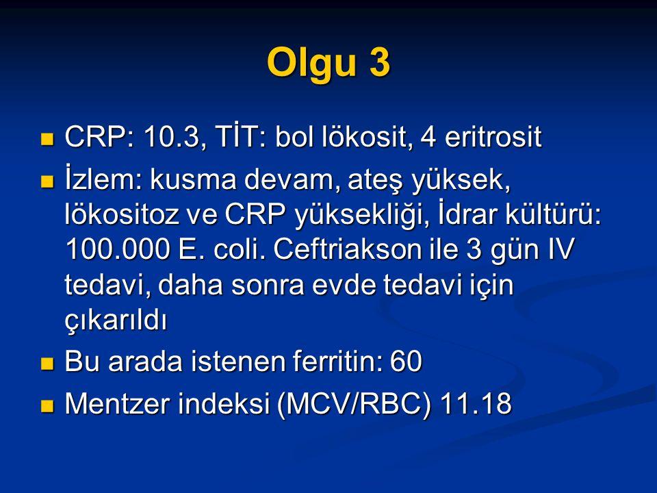 Olgu 3 CRP: 10.3, TİT: bol lökosit, 4 eritrosit CRP: 10.3, TİT: bol lökosit, 4 eritrosit İzlem: kusma devam, ateş yüksek, lökositoz ve CRP yüksekliği, İdrar kültürü: 100.000 E.