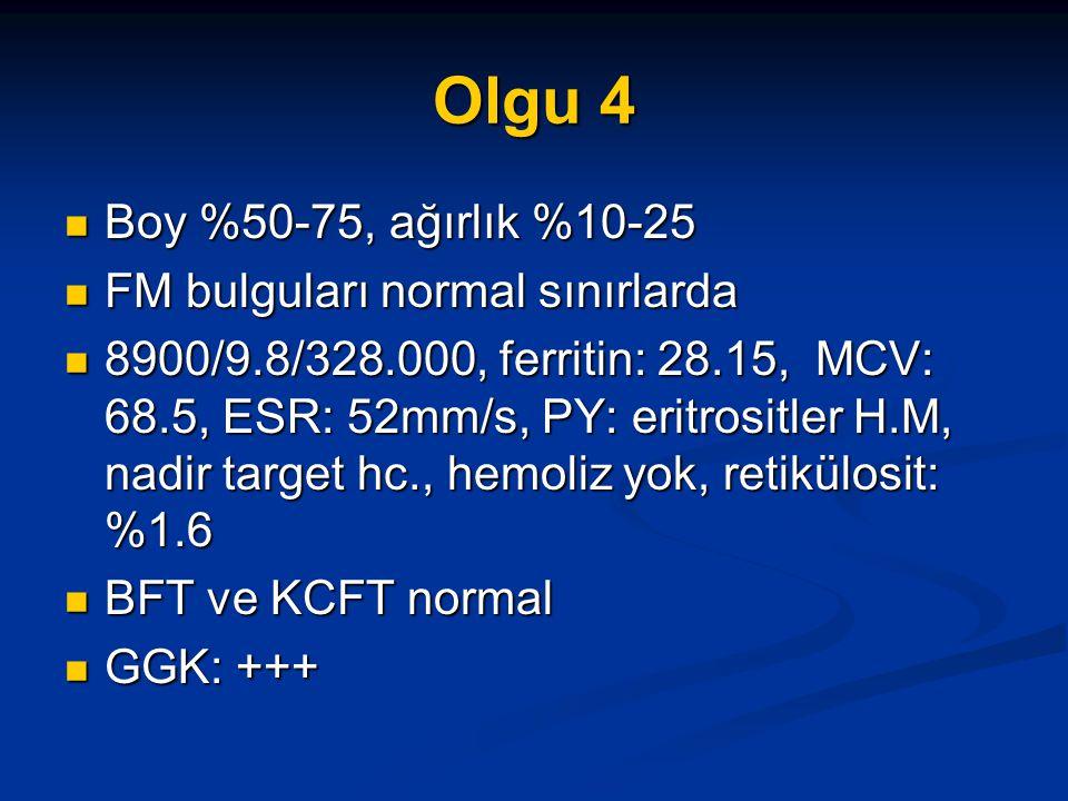 Olgu 4 Boy %50-75, ağırlık %10-25 Boy %50-75, ağırlık %10-25 FM bulguları normal sınırlarda FM bulguları normal sınırlarda 8900/9.8/328.000, ferritin: 28.15, MCV: 68.5, ESR: 52mm/s, PY: eritrositler H.M, nadir target hc., hemoliz yok, retikülosit: %1.6 8900/9.8/328.000, ferritin: 28.15, MCV: 68.5, ESR: 52mm/s, PY: eritrositler H.M, nadir target hc., hemoliz yok, retikülosit: %1.6 BFT ve KCFT normal BFT ve KCFT normal GGK: +++ GGK: +++