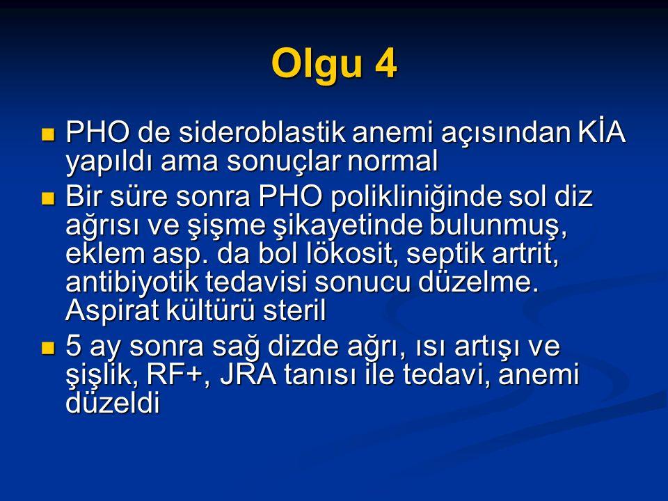 Olgu 4 PHO de sideroblastik anemi açısından KİA yapıldı ama sonuçlar normal PHO de sideroblastik anemi açısından KİA yapıldı ama sonuçlar normal Bir süre sonra PHO polikliniğinde sol diz ağrısı ve şişme şikayetinde bulunmuş, eklem asp.