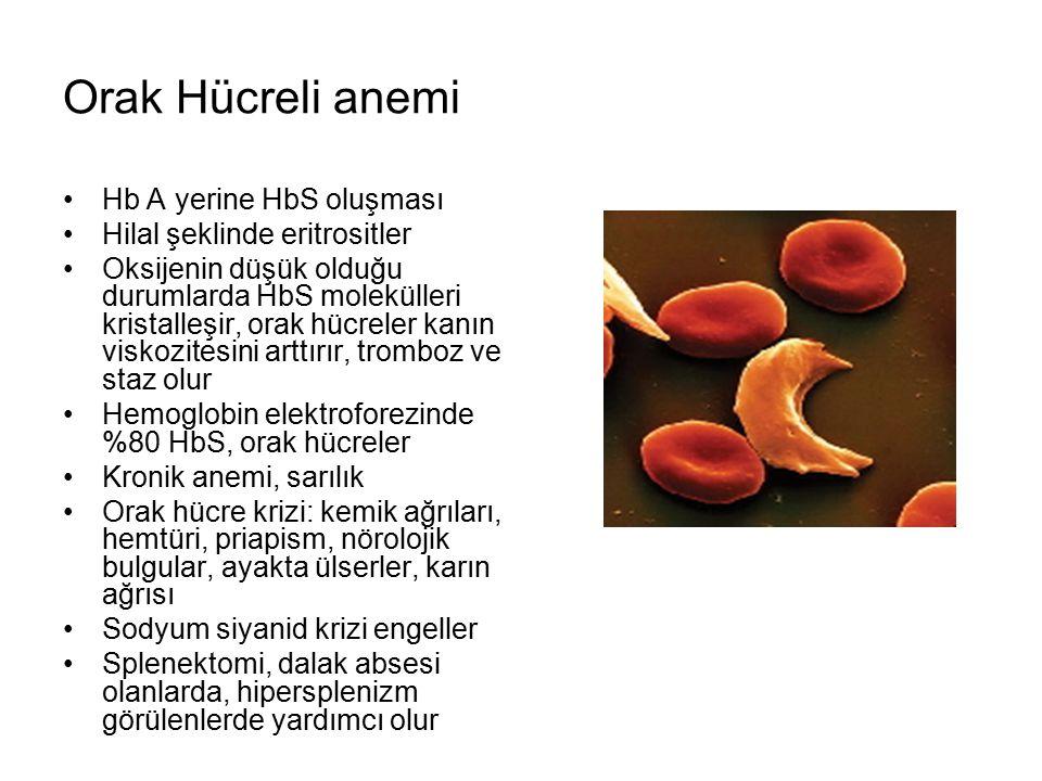Orak Hücreli anemi Hb A yerine HbS oluşması Hilal şeklinde eritrositler Oksijenin düşük olduğu durumlarda HbS molekülleri kristalleşir, orak hücreler kanın viskozitesini arttırır, tromboz ve staz olur Hemoglobin elektroforezinde %80 HbS, orak hücreler Kronik anemi, sarılık Orak hücre krizi: kemik ağrıları, hemtüri, priapism, nörolojik bulgular, ayakta ülserler, karın ağrısı Sodyum siyanid krizi engeller Splenektomi, dalak absesi olanlarda, hipersplenizm görülenlerde yardımcı olur