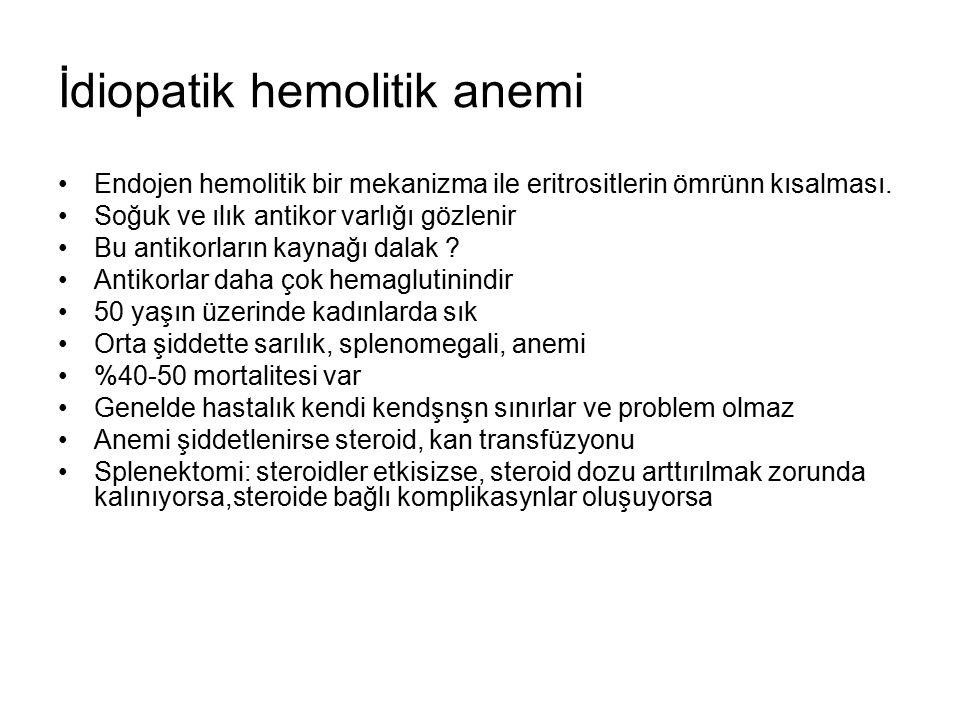 İdiopatik hemolitik anemi Endojen hemolitik bir mekanizma ile eritrositlerin ömrünn kısalması.