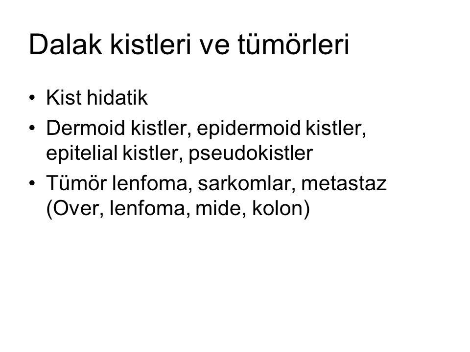 Dalak kistleri ve tümörleri Kist hidatik Dermoid kistler, epidermoid kistler, epitelial kistler, pseudokistler Tümör lenfoma, sarkomlar, metastaz (Over, lenfoma, mide, kolon)