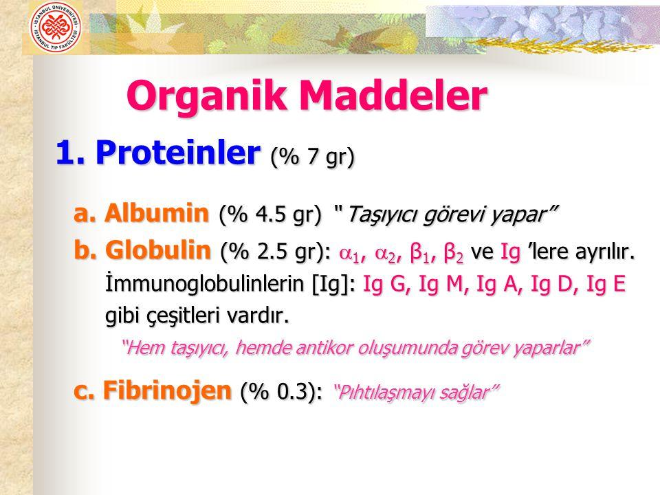1.Proteinler (% 7 gr) 1. Proteinler (% 7 gr) a. Albumin (% 4.5 gr) Taşıyıcı görevi yapar a.