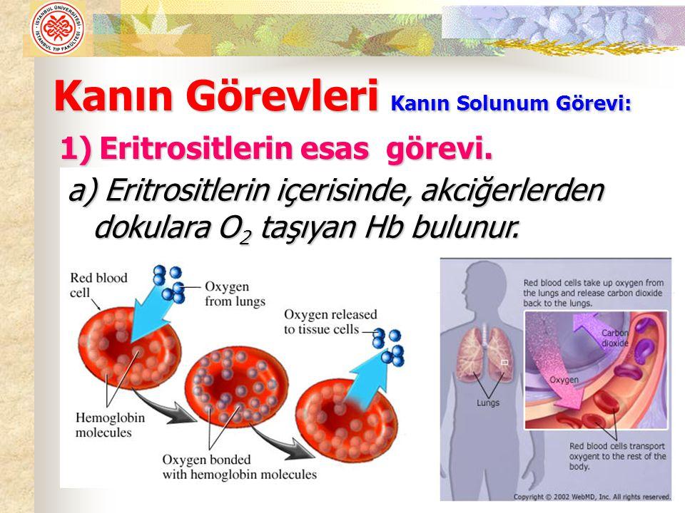 Kanın Görevleri Kanın Solunum Görevi: 1)Eritrositlerin esas görevi.