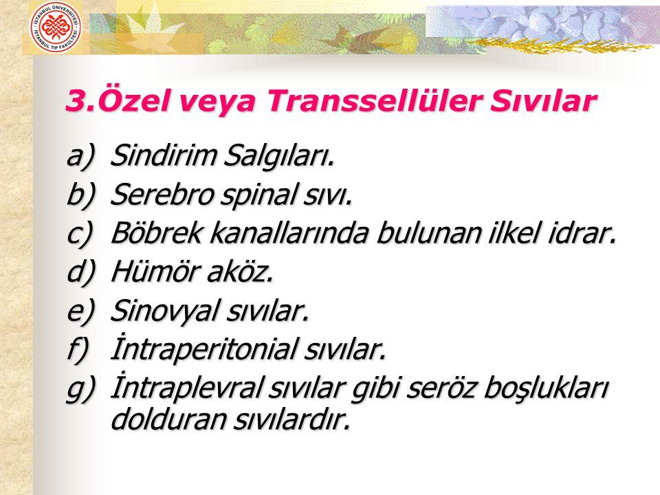 3.Özel veya Transsellüler Sıvılar a)Sindirim Salgıları.