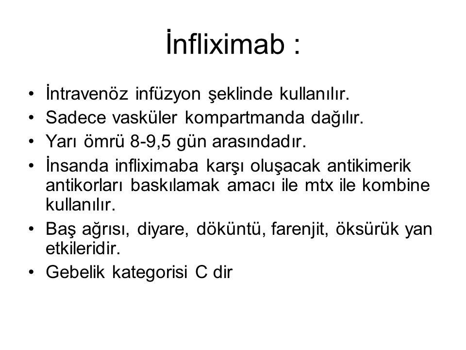 İnfliximab : İntravenöz infüzyon şeklinde kullanılır. Sadece vasküler kompartmanda dağılır. Yarı ömrü 8-9,5 gün arasındadır. İnsanda infliximaba karşı