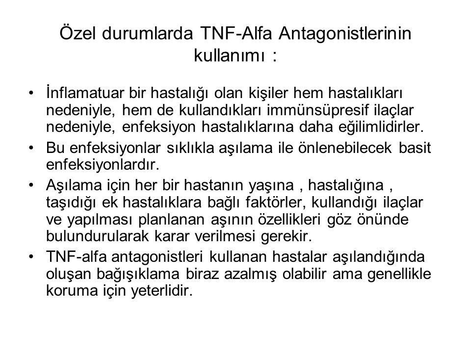 Özel durumlarda TNF-Alfa Antagonistlerinin kullanımı : İnflamatuar bir hastalığı olan kişiler hem hastalıkları nedeniyle, hem de kullandıkları immünsü