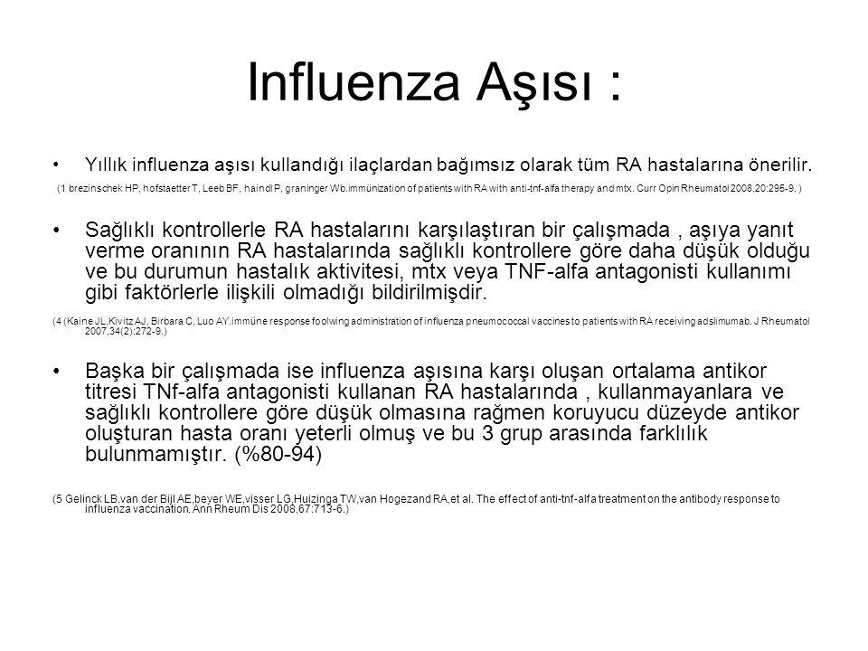 Influenza Aşısı : Yıllık influenza aşısı kullandığı ilaçlardan bağımsız olarak tüm RA hastalarına önerilir. (1 brezinschek HP, hofstaetter T, Leeb BF,