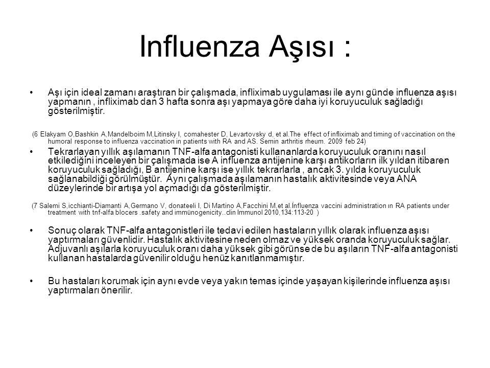 Influenza Aşısı : Aşı için ideal zamanı araştıran bir çalışmada, infliximab uygulaması ile aynı günde influenza aşısı yapmanın, infliximab dan 3 hafta