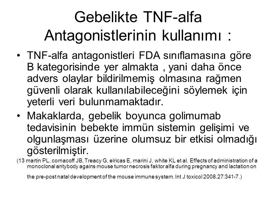 Gebelikte TNF-alfa Antagonistlerinin kullanımı : TNF-alfa antagonistleri FDA sınıflamasına göre B kategorisinde yer almakta, yani daha önce advers ola