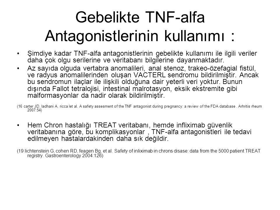 Gebelikte TNF-alfa Antagonistlerinin kullanımı : Şimdiye kadar TNF-alfa antagonistlerinin gebelikte kullanımı ile ilgili veriler daha çok olgu seriler