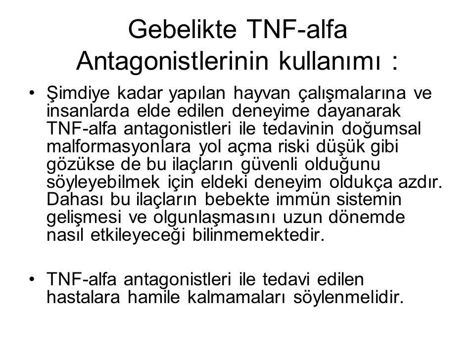 Gebelikte TNF-alfa Antagonistlerinin kullanımı : Şimdiye kadar yapılan hayvan çalışmalarına ve insanlarda elde edilen deneyime dayanarak TNF-alfa anta