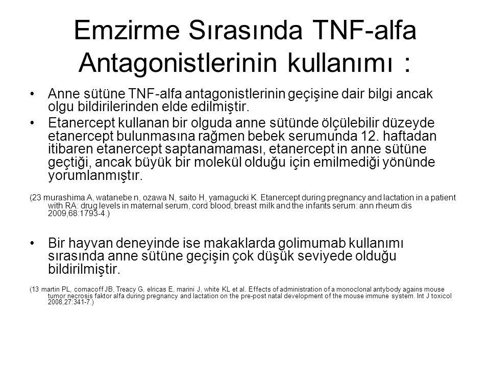Emzirme Sırasında TNF-alfa Antagonistlerinin kullanımı : Anne sütüne TNF-alfa antagonistlerinin geçişine dair bilgi ancak olgu bildirilerinden elde ed