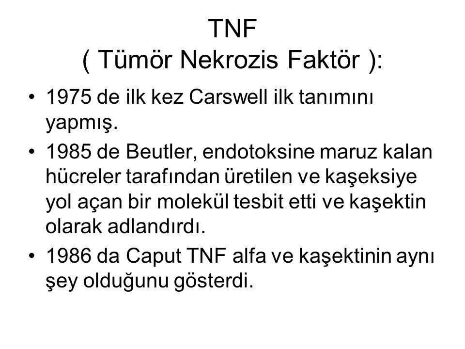 TNF ( Tümör Nekrozis Faktör ): 1975 de ilk kez Carswell ilk tanımını yapmış. 1985 de Beutler, endotoksine maruz kalan hücreler tarafından üretilen ve