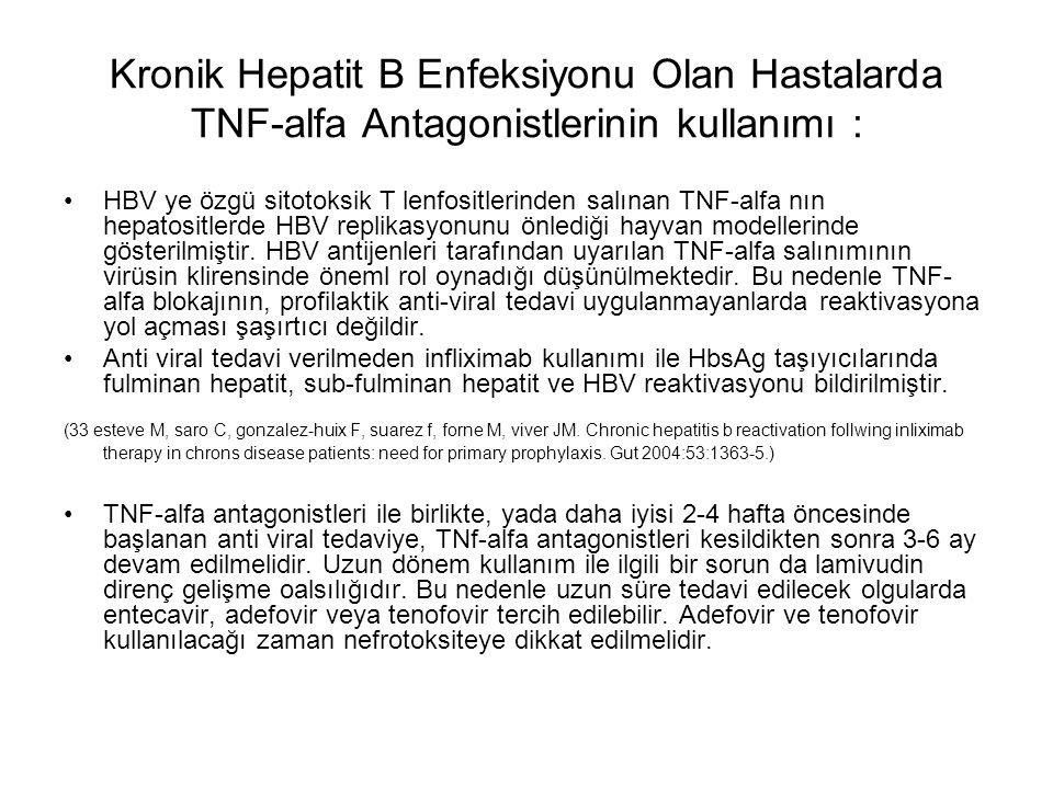 Kronik Hepatit B Enfeksiyonu Olan Hastalarda TNF-alfa Antagonistlerinin kullanımı : HBV ye özgü sitotoksik T lenfositlerinden salınan TNF-alfa nın hep