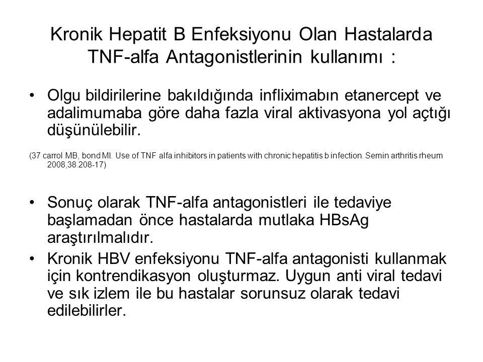 Kronik Hepatit B Enfeksiyonu Olan Hastalarda TNF-alfa Antagonistlerinin kullanımı : Olgu bildirilerine bakıldığında infliximabın etanercept ve adalimu