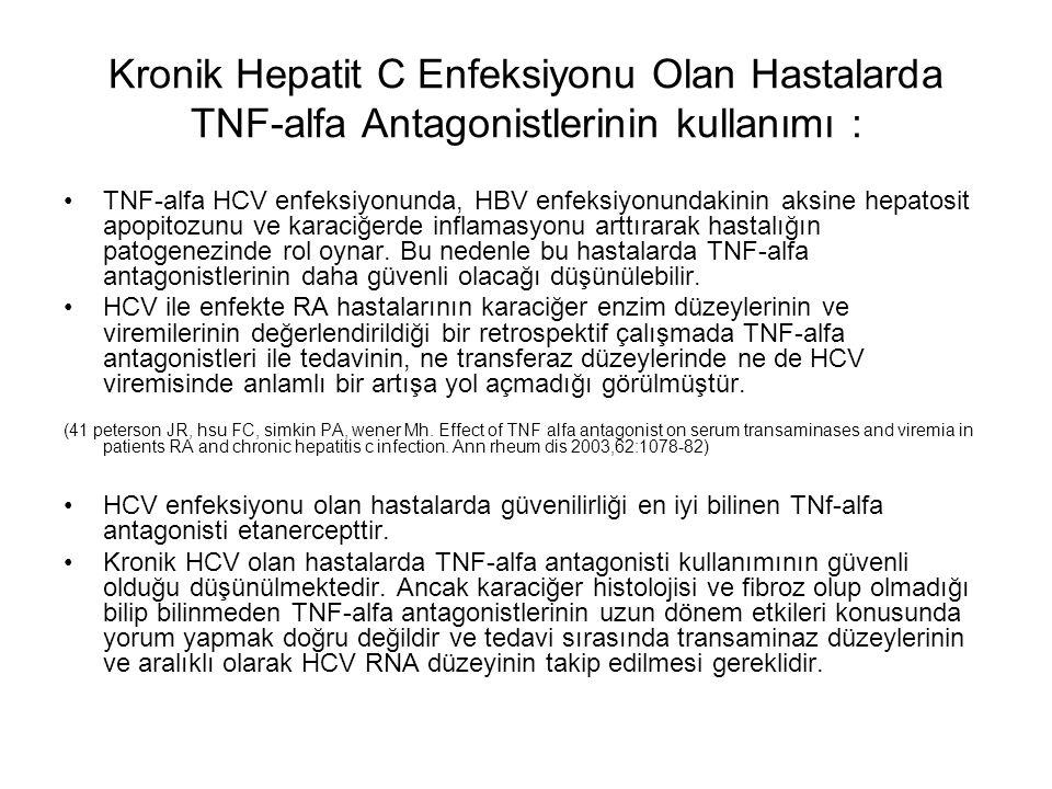 Kronik Hepatit C Enfeksiyonu Olan Hastalarda TNF-alfa Antagonistlerinin kullanımı : TNF-alfa HCV enfeksiyonunda, HBV enfeksiyonundakinin aksine hepato