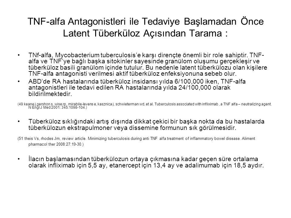 TNF-alfa Antagonistleri ile Tedaviye Başlamadan Önce Latent Tüberküloz Açısından Tarama : TNf-alfa, Mycobacterium tuberculosis'e karşı dirençte önemli