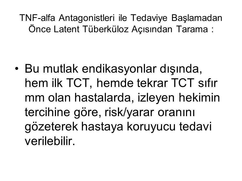 TNF-alfa Antagonistleri ile Tedaviye Başlamadan Önce Latent Tüberküloz Açısından Tarama : Bu mutlak endikasyonlar dışında, hem ilk TCT, hemde tekrar T