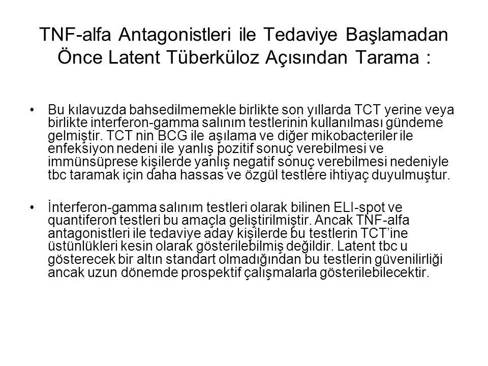 TNF-alfa Antagonistleri ile Tedaviye Başlamadan Önce Latent Tüberküloz Açısından Tarama : Bu kılavuzda bahsedilmemekle birlikte son yıllarda TCT yerin