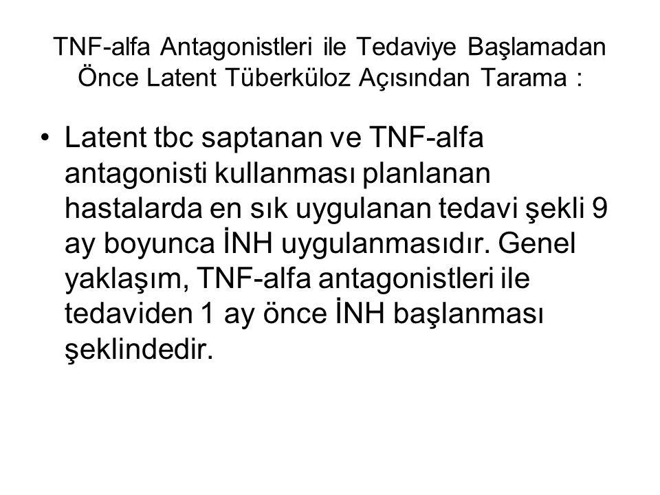 TNF-alfa Antagonistleri ile Tedaviye Başlamadan Önce Latent Tüberküloz Açısından Tarama : Latent tbc saptanan ve TNF-alfa antagonisti kullanması planl