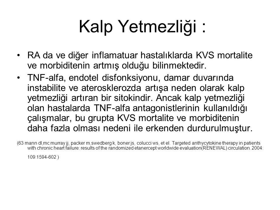Kalp Yetmezliği : RA da ve diğer inflamatuar hastalıklarda KVS mortalite ve morbiditenin artmış olduğu bilinmektedir. TNF-alfa, endotel disfonksiyonu,