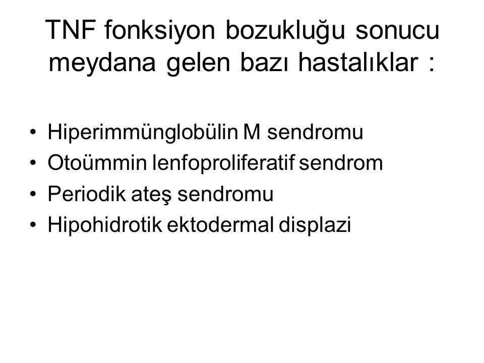 TNF fonksiyon bozukluğu sonucu meydana gelen bazı hastalıklar : Hiperimmünglobülin M sendromu Otoümmin lenfoproliferatif sendrom Periodik ateş sendrom