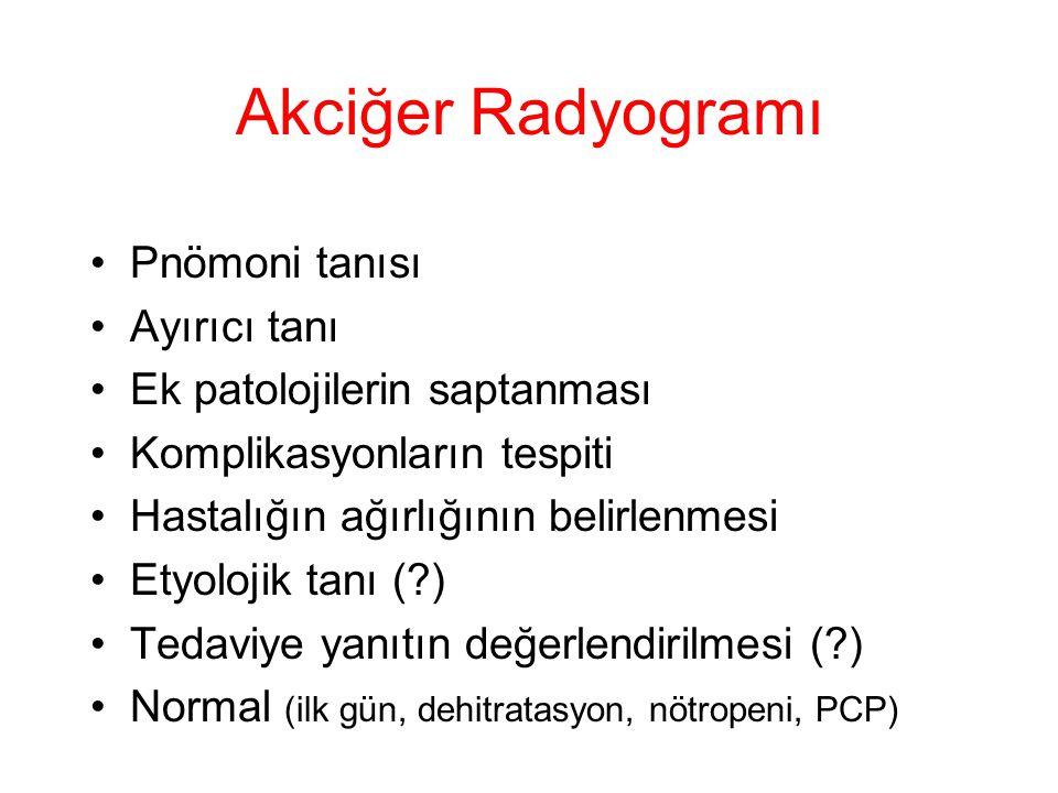 Akciğer Radyogramı Pnömoni tanısı Ayırıcı tanı Ek patolojilerin saptanması Komplikasyonların tespiti Hastalığın ağırlığının belirlenmesi Etyolojik tan