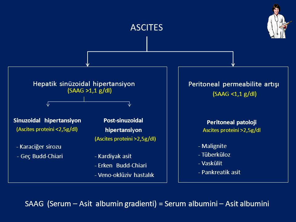 ASCITES SAAG (Serum – Asit albumin gradienti) = Serum albumini – Asit albumini Post-sinuzoidal hipertansiyon (Ascites proteini >2,5g/dl) - Kardiyak as