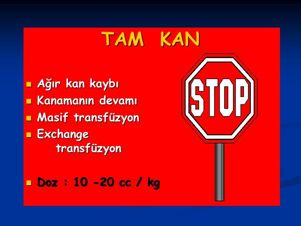 TAM KAN Ağır kan kaybı Ağır kan kaybı Kanamanın devamı Kanamanın devamı Masif transfüzyon Masif transfüzyon Exchange transfüzyon Exchange transfüzyon