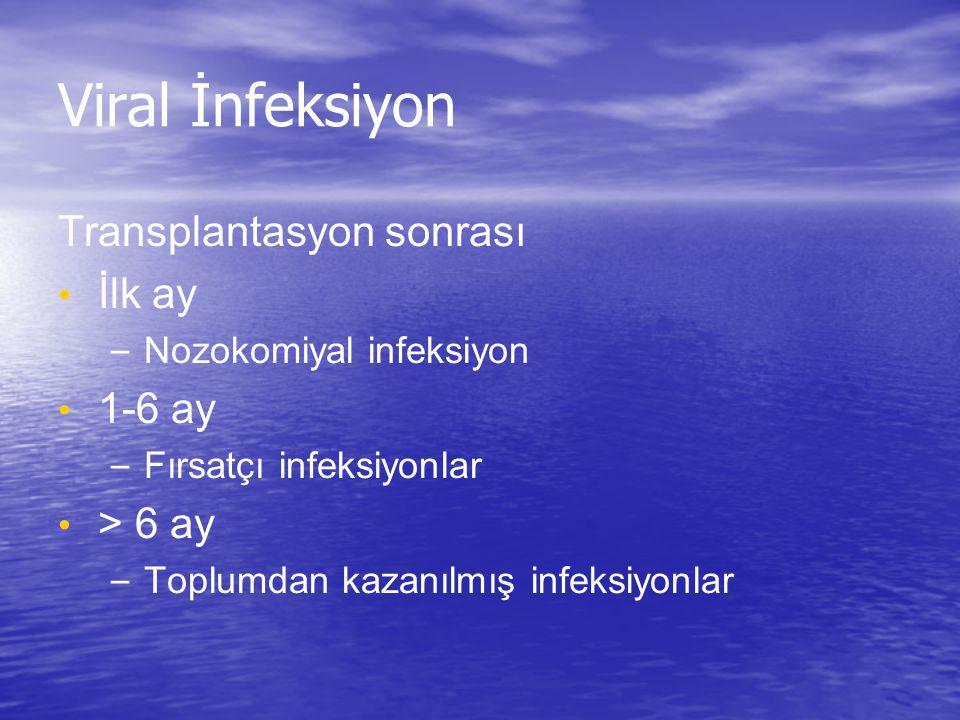 Viral İnfeksiyon Transplantasyon sonrası İlk ay – Nozokomiyal infeksiyon 1-6 ay – Fırsatçı infeksiyonlar > 6 ay – Toplumdan kazanılmış infeksiyonlar