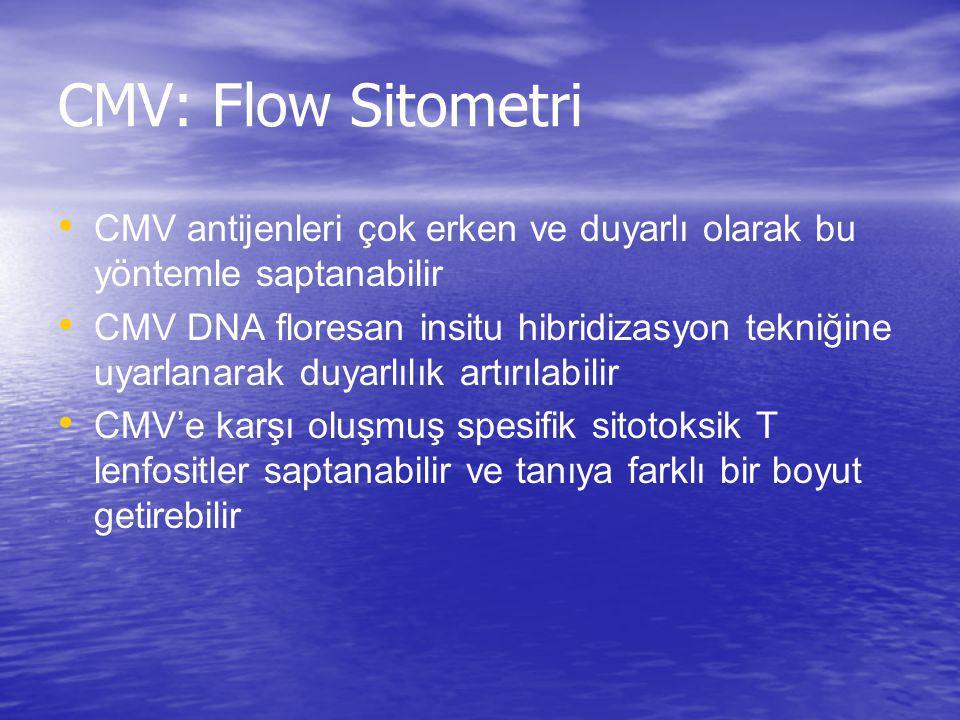 CMV: Flow Sitometri CMV antijenleri çok erken ve duyarlı olarak bu yöntemle saptanabilir CMV DNA floresan insitu hibridizasyon tekniğine uyarlanarak d