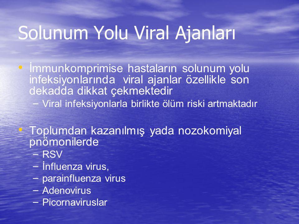 Solunum Yolu Viral Ajanları İmmunkomprimise hastaların solunum yolu infeksiyonlarında viral ajanlar özellikle son dekadda dikkat çekmektedir – Viral i