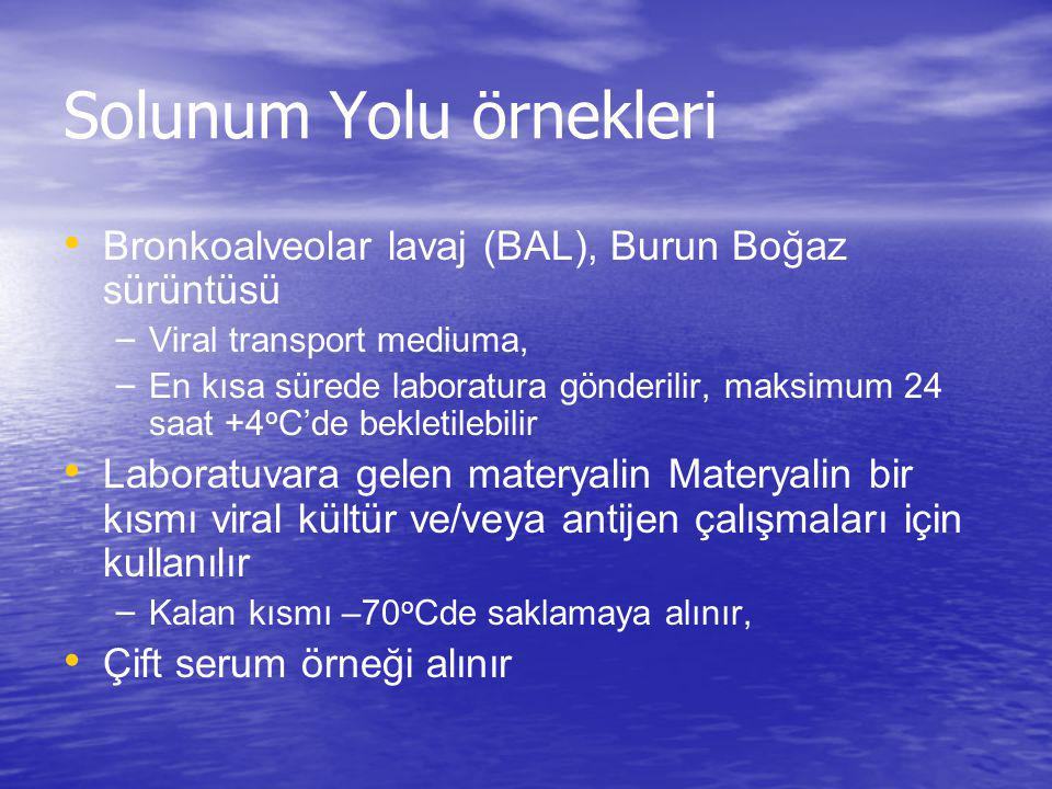 Solunum Yolu örnekleri Bronkoalveolar lavaj (BAL), Burun Boğaz sürüntüsü – Viral transport mediuma, – En kısa sürede laboratura gönderilir, maksimum 2