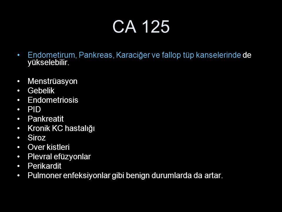 CA 125 Endometirum, Pankreas, Karaciğer ve fallop tüp kanselerinde de yükselebilir. Menstrüasyon Gebelik Endometriosis PID Pankreatit Kronik KC hastal