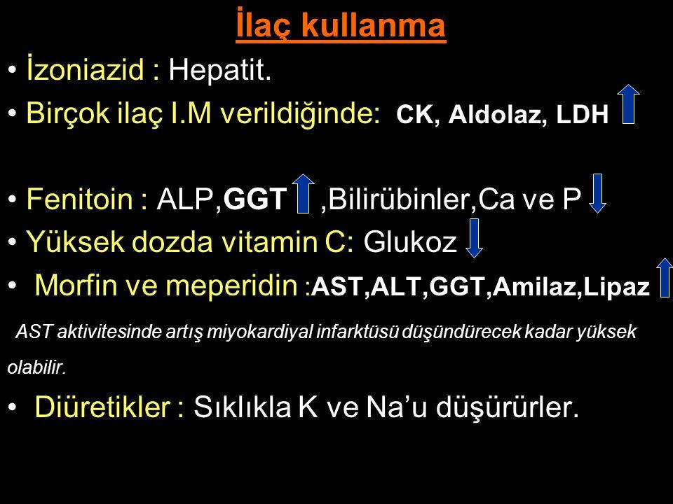 İlaç kullanma İzoniazid : Hepatit. Birçok ilaç I.M verildiğinde: CK, Aldolaz, LDH Fenitoin : ALP,GGT,Bilirübinler,Ca ve P Yüksek dozda vitamin C: Gluk