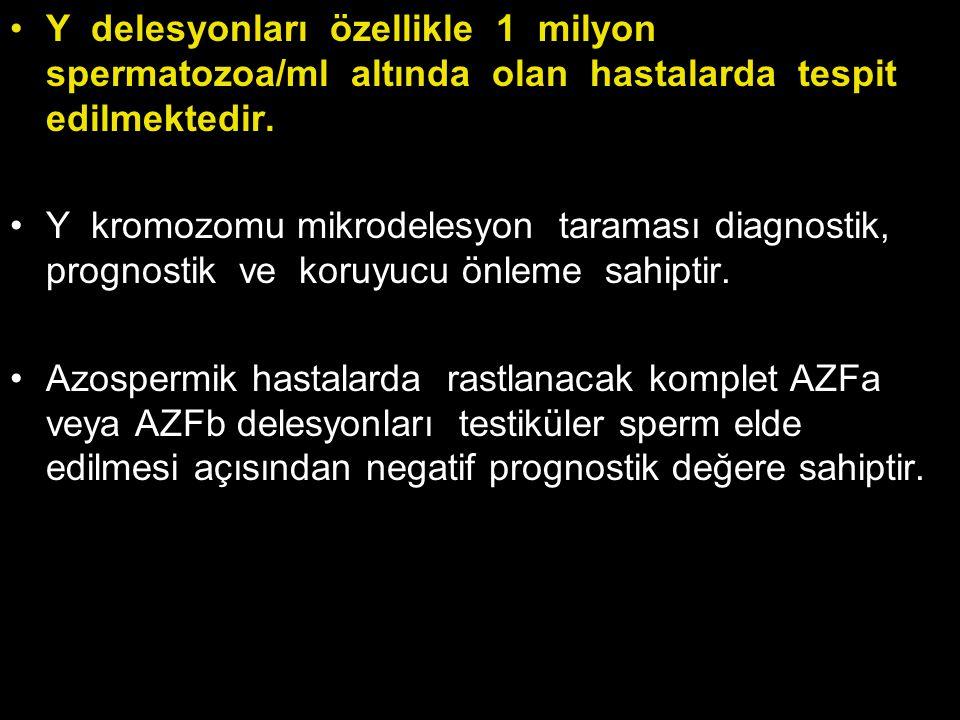 Y delesyonları özellikle 1 milyon spermatozoa/ml altında olan hastalarda tespit edilmektedir. Y kromozomu mikrodelesyon taraması diagnostik, prognosti
