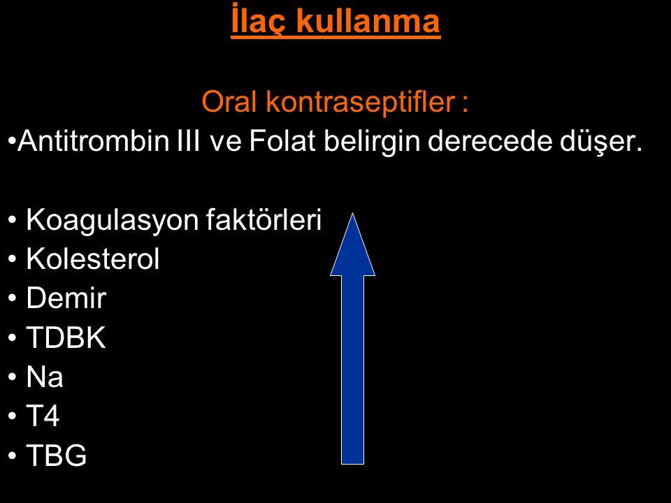 İlaç kullanma Oral kontraseptifler : Antitrombin III ve Folat belirgin derecede düşer. Koagulasyon faktörleri Kolesterol Demir TDBK Na T4 TBG